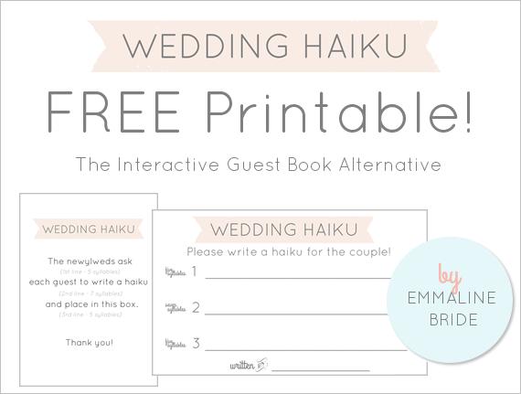 FREE Printable! - Wedding Haiku Cards + Sign by EmmalineBride.com