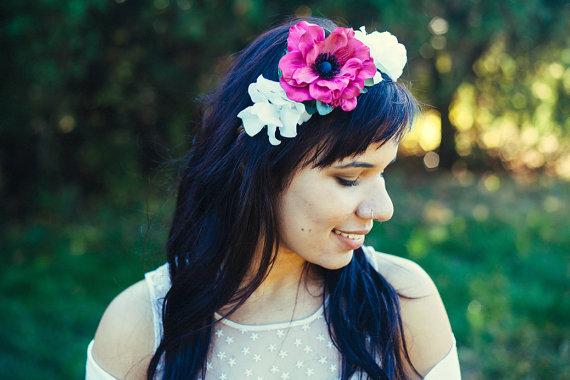 Bridal Hair Crowns - hot pink flower