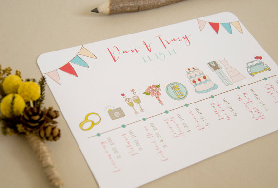 wedding itinerary cute whimsical hand-drawn