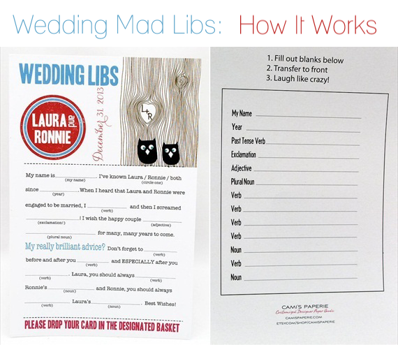 wedding mad libs how it works