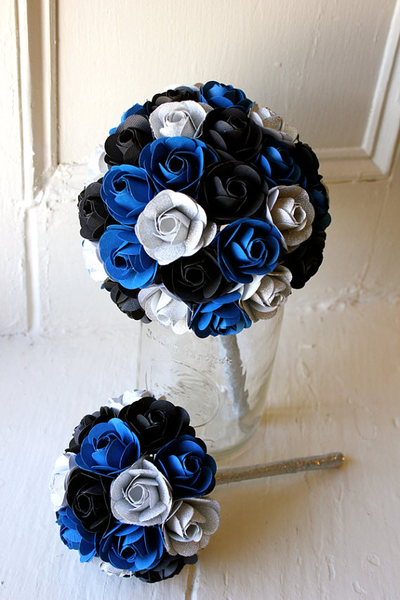 wedding paper flowers navy blue and white