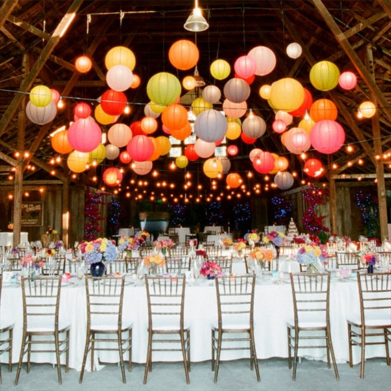 colorful wedding paper lanterns at the reception over your tables