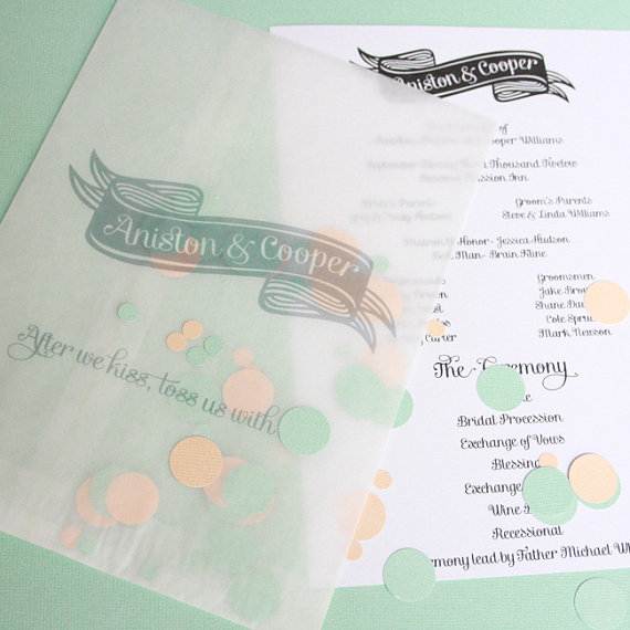 Are Wedding Programs Required? (via EmmalineBride.com) - wedding programs with confetti by Print Your Party