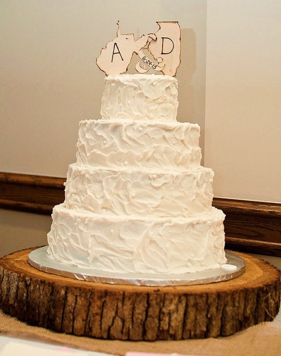 Wedding state cake toppers