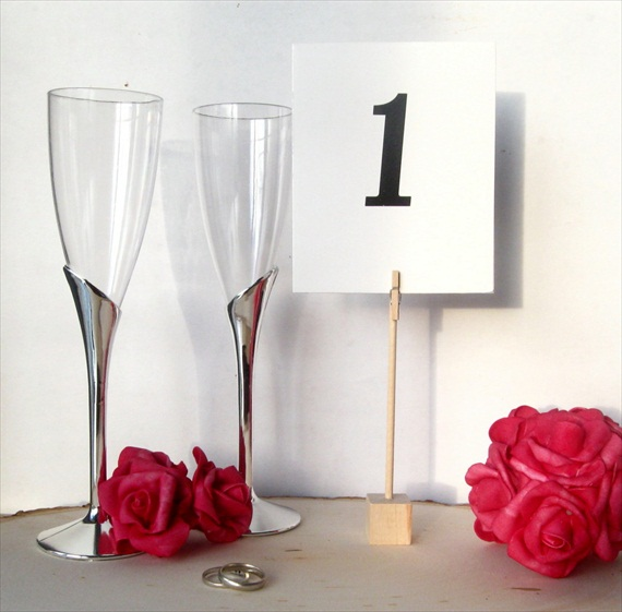 7 Unique Table Number Holders - wooden mini clothespin holder by knotty notions