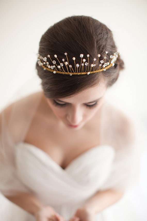 How to Rock a No Veil Wedding Look (via EmmalineBride.com) - tiara by Melinda Rose Design, photo by Atlas and Elia