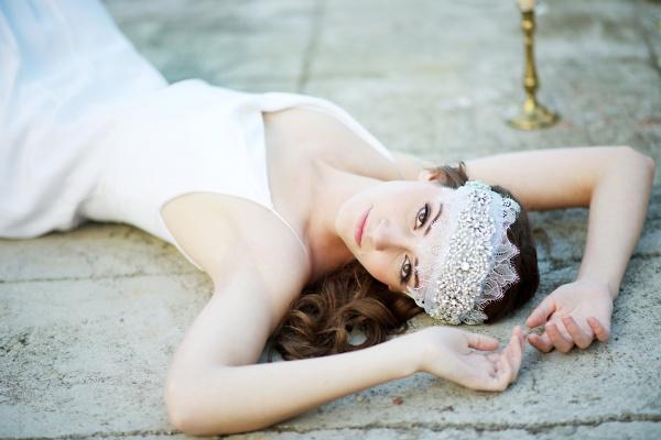 bridal cap hair wrap   8 Alternative Wedding Veil Ideas from Tessa Kim