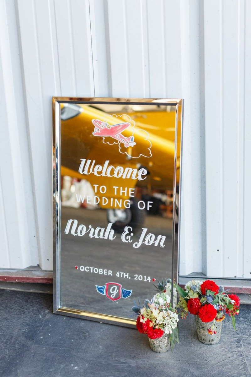 This welcome sign features the couple's travel theme | https://emmalinebride.com/decor/wedding-mirror-signs/