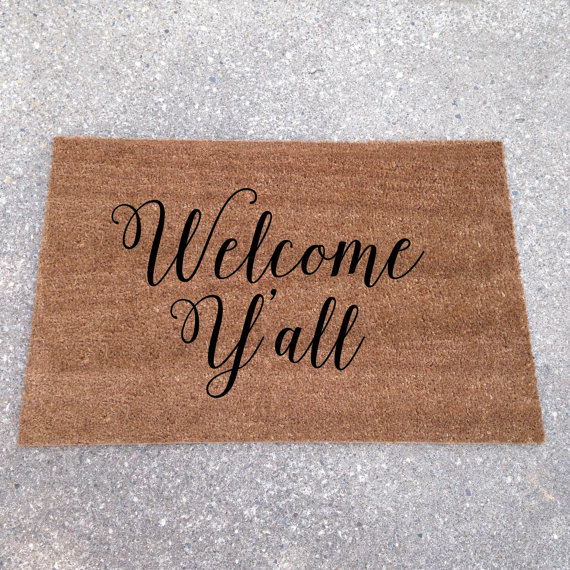 welcome y'all doormat - cute! - custom doormats etsy collection from LoRustique | http://emmalinebride.com/gifts/custom-doormats-etsy/