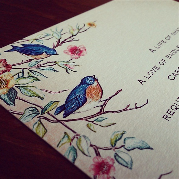 whimsical bird invitation