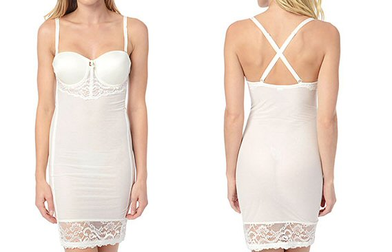 white bridal shapewear with convertible straps via What to Wear Under the Dress