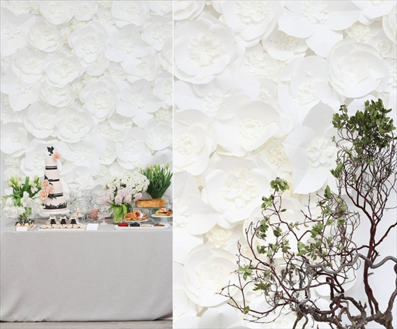 white flower backdrop for decorating your reception hall