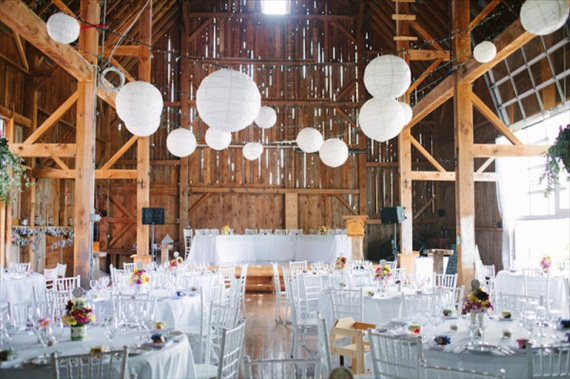 barn wedding ideas - white paper lanterns
