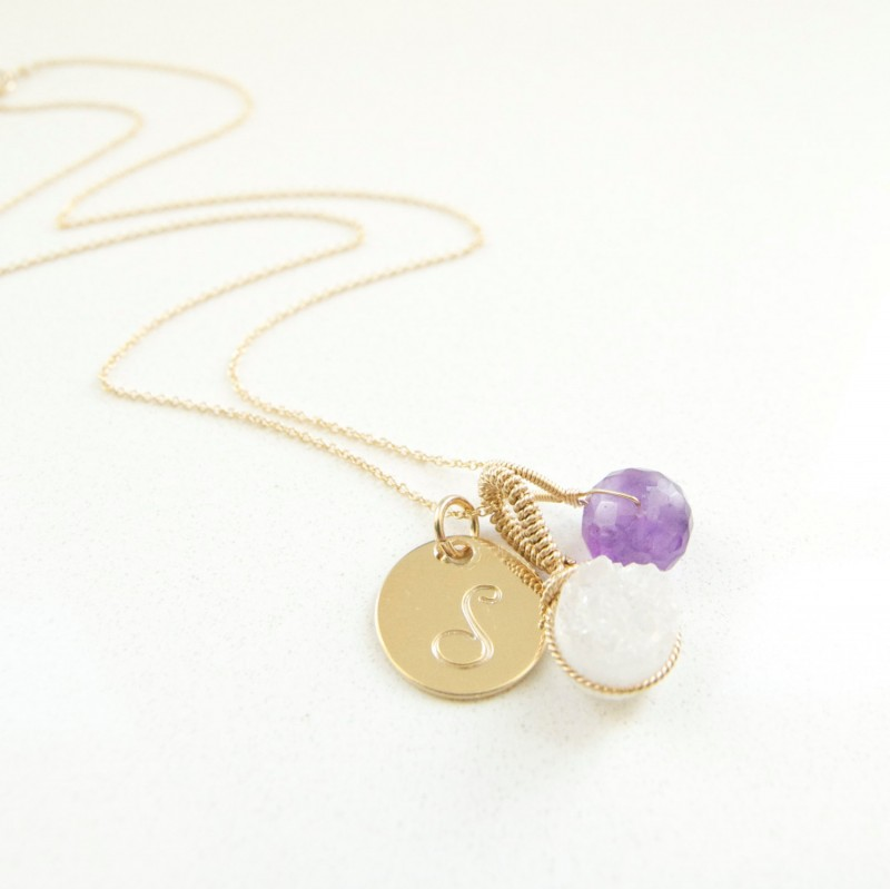 white quartz and amethyst birthstone february with initial necklace | birthstone jewelry gifts | https://emmalinebride.com/gifts/birthstone-jewelry-gifts/