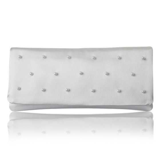 white satin pearl bridal clutch purse