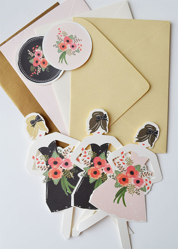 Be My Bridesmaid Cards (by The First Snow via EmmalineBride.com) #handmade #wedding