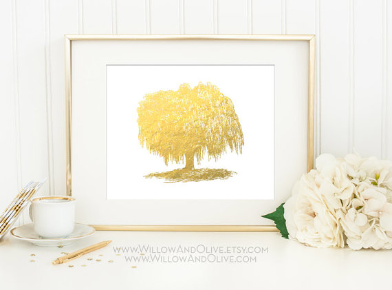 willow tree gold foil print via 27 Amazing Anniversary Gifts by Year http://emmalinebride.com/gifts/anniversary-gifts-by-year/