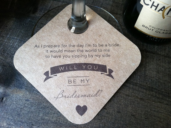 be my bridesmaid wine glass tags - wine themed wedding ideas