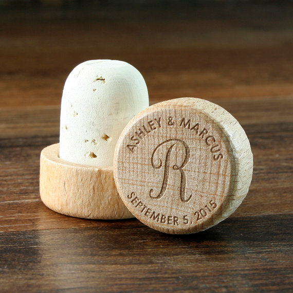 engraved wine stopper favors by event city design