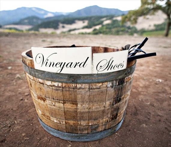 wine-themed-wedding-vineyard-shoe-bin-for-flip-flops