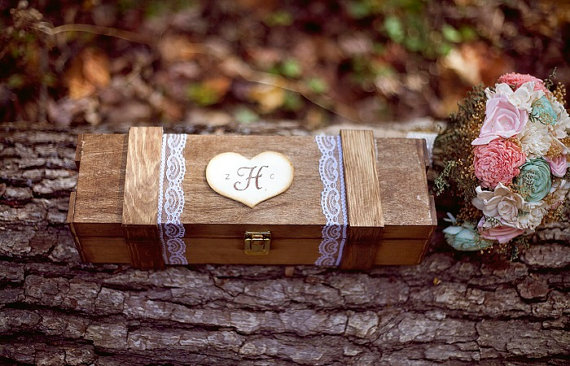 Wine Ceremony Box (by PNZ Designs, photo by I {Heart} Photos, bouquet by Curious Floral)