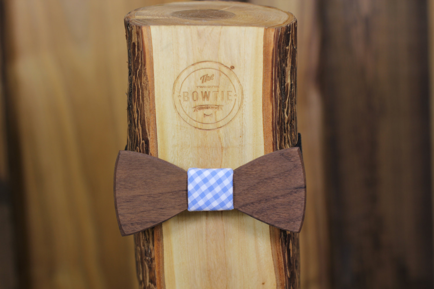 wood bow tie with gingham fabric