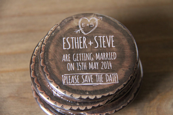 6 Creative Save the Date Ideas - wood magnet by wedding save the dates