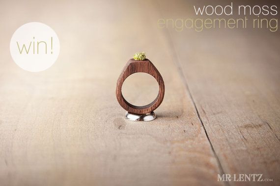 wood moss engagement ring