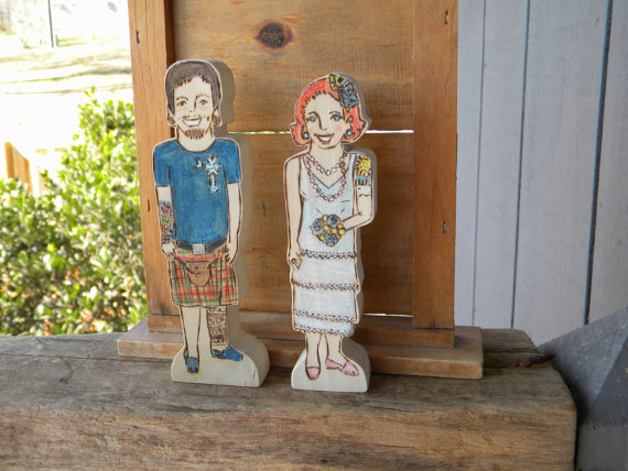 Unique Cake Topper - wooden couple with tattoo