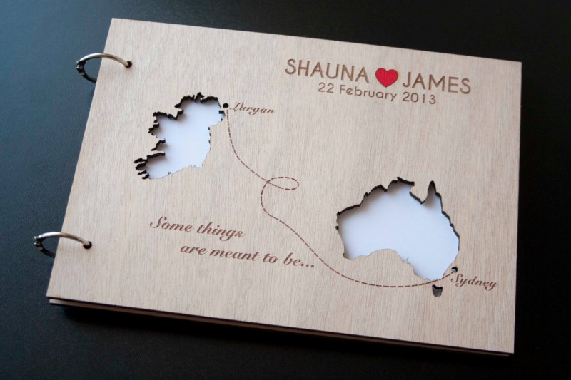 wooden guest book with cut outs by totally salinda