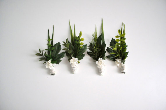 woodland boutonnieres - winter wedding accessories