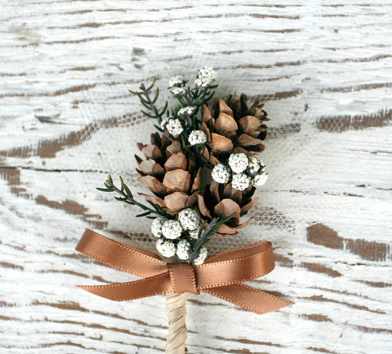 woodland pine cone boutonniere | via What Kind of Boutonniere to Pick (and Why) http://emmalinebride.com/groom/what-kind-of-boutonniere/
