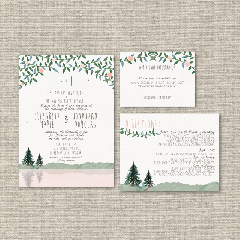 Pine tree wedding invitations | by Splash of Silver | http://emmalinebride.com/planning/pine-tree-wedding-invitations/
