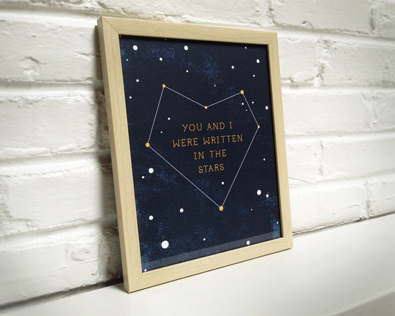 written in the stars print bask in design | via Starry Night Weddings http://emmalinebride.com/vintage/starry-night-weddings-ideas/