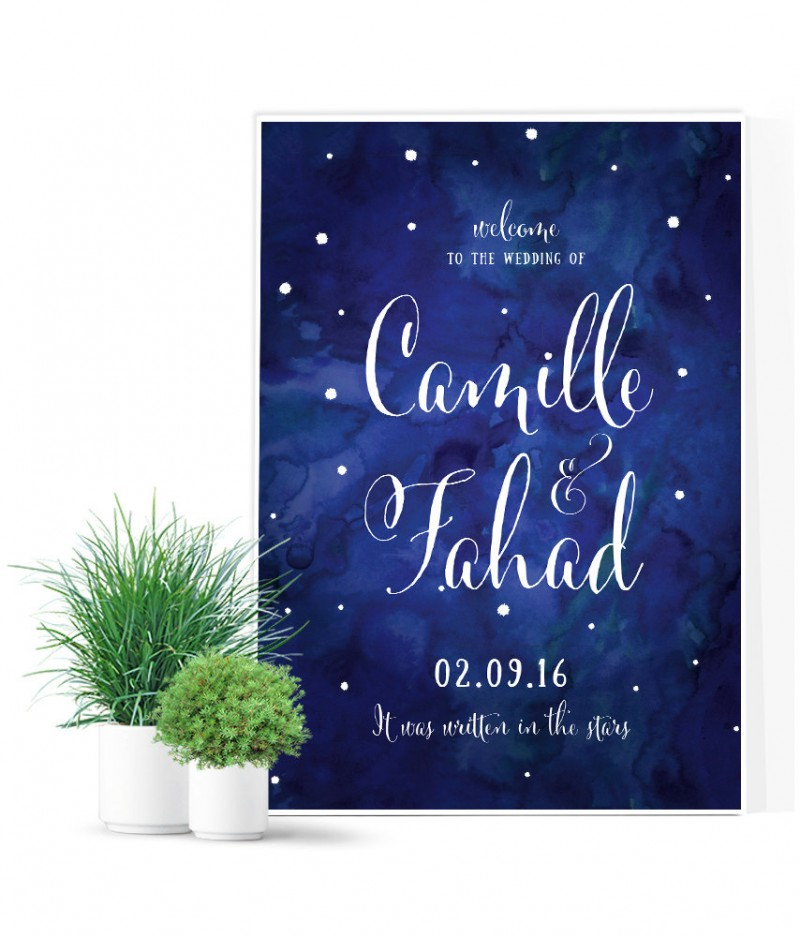 written in the stars wedding sign by mdb weddings | via Starry Night Weddings http://emmalinebride.com/vintage/starry-night-weddings-ideas/