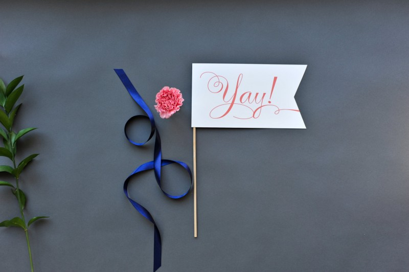 yay celebration flag | Fun Wedding Photo Props | http://emmalinebride.com/decor/fun-wedding-photo-props/