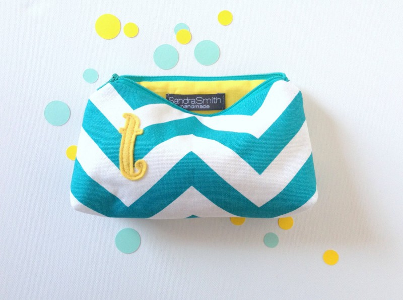 yellow and turquoise chevron makeup cases | Bridesmaid Makeup Cases https://emmalinebride.com/gifts/bridesmaid-makeup-cases/