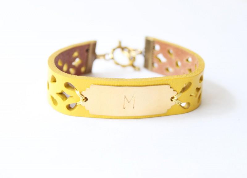 yellow initial bracelet leather | https://emmalinebride.com/gifts/bridesmaid-bangle-bracelets/