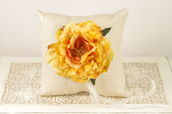 yellow peony burlap ring pillow