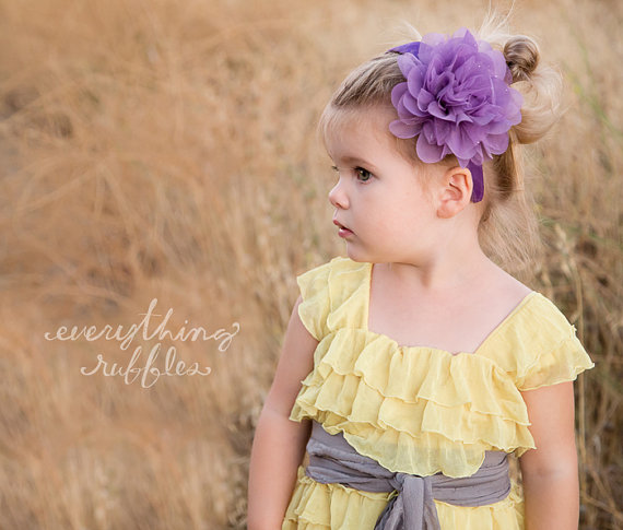 yellow ruffle flower girl dresses grey sash